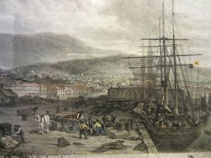 Collectable An Antique The Quay Hobart Town Print 1873