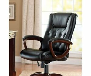 Bonded Leather Executive Office Swivel Chair Desk Vintage Headrest Decor Black