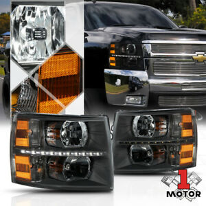 Black Clear Led Strip Drl Headlight Light Lamp Amber Signal For 07 14 Silverado