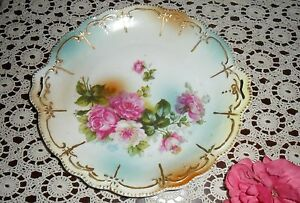 Large Victorian Antique Hand Painted Cabbage Roses Handled Charger Plate Dish