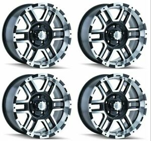 Set 4 16 Ion 179 Black Machined Wheels 16x8 5x5 10mm Jeep Chevy Gmc 5 Lug Truck
