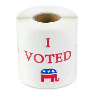 I Voted Stickers Round Republican Right Election Voting Labels 2 10 Rolls