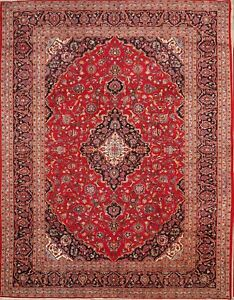 Vintage Handmade Traditional Floral Red 10x14 Kashan Persian Oriental Area Rug