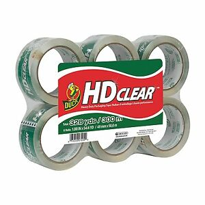 Duck Brand Hd Clear High Performance Packaging Tape 1 88 X 54 6 Yd 6 Pack