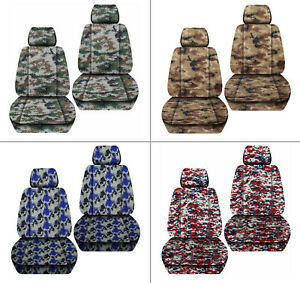 Front Car Seat Covers Digital Camo Tan Blue red Fits Jeep Liberty 2002 2012