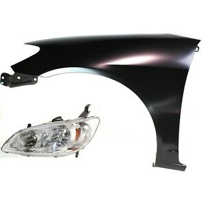 Fender Kit For 2004 2005 Honda Civic Fender Headlight Left Primed 2pc