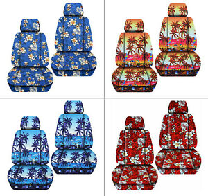 Fits Jeep Liberty Front Car Seat Covers Hawaii Palm Tree Flower Yellow Blue