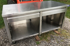 60 X 30 Stainless Steel 2 Drawer Mobile Cabinet Storage Counter Top