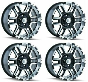 Set 4 17 Ion 179 Black Machined Wheels 17x8 5x5 10mm Jeep Chevy Gmc 5 Lug Truck