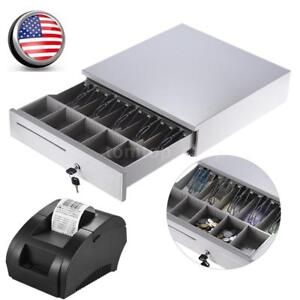 Cash Drawer Safe Box 5 Bill 5 Coin Tray usb 58mm Pos Thermal Dot Receipt Printer