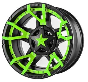 20 Inch Black Green Wheels Rims Lifted Ford Superduty 8x170 Xd Series Rockstar 3