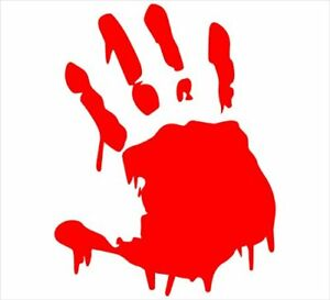 Red Bloody Hand Print Vinyl Decal Sticker Zombie Horror Car Window Free Shipping