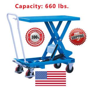 Eoslift Ta30 Hydraulic Single Scissor Lift Table Cart 19 7 x 32 1 Cap 660 Lbs