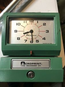 no Key Acroprint Time Recorder Time Clock 150qr4
