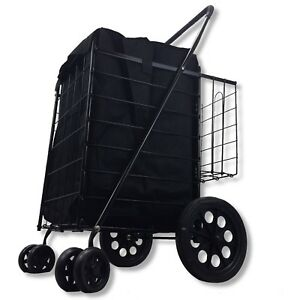 Folding Shopping Cart Stair Rolling Utility Trolley Double Basket Black Liner