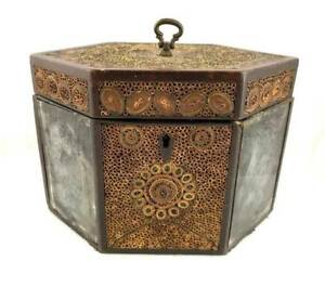 Antique C 1800 English Quillwork Rolled Paper Tea Caddy