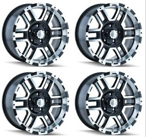 Set 4 18 Ion 179 Black Machined Rims 18x9 8x6 5 12mm Chevy Gmc Dodge Ram 8 Lug