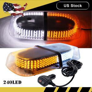 240 Led Amber Roof Top Emergency Warning Flash Strobe Light Bar Lamp Yellow 12v