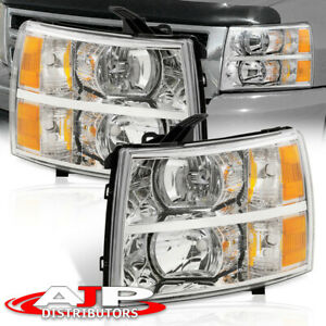 Chrome Amber Replacement Headlights Lamps For 07 13 Chevy Silverado 1500 2500hd