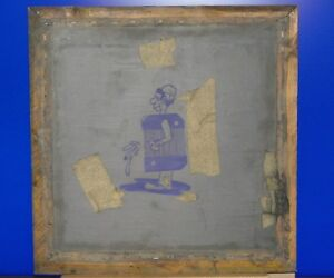 Vintage Man Pissing Out Of Barrel Silk Screen T shirt Stencil Frame Man Cave