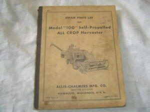Allis Chalmers All Crop 100 Harvester Combine Parts Catalog Book Manual