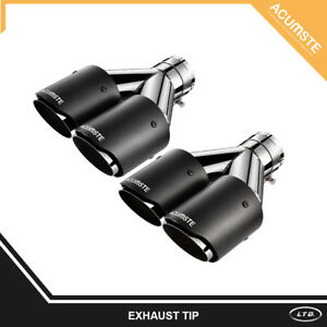 2x Carbon Fiber Y pipe Dual Exhaust Tip Muffler 2 5 Inlet 3 5 Outlet For Benz