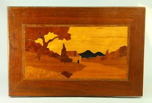1920 S Art Deco Inlaid Wood Marquetry Panel Plaque Landscape Scene