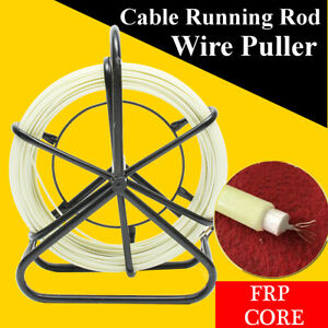 Us 100m Fish Tape Fiberglass Wire Cable Running Rod Duct Rodder Puller 4 5mm