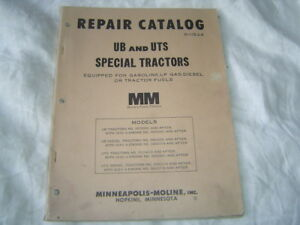 Minneapolis Moline Ub Uts Tractor Parts Catalog Manual Book