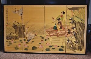 18th Century Signed Japanese Kano School Hand Painted 4 Panel Folding Screen