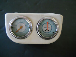 Stewart Warner Twin Blue Amp oil Pressure Gauge Teal Green Line Hot Rat Rod Scta