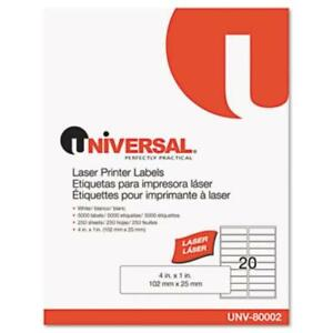Universal Office Products 80002 Laser Printer Permanent Labels 1 X 4 White