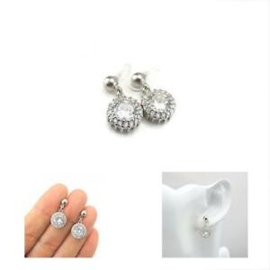Halo Clear Glass Rhinestone Drop Invisible Clip On Earrings F Non Pierced Ears S
