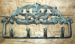 Cast Iron Victorian Style Towel Coat Hooks Hat Hook Key Rack Rustic Heart 4 Hook