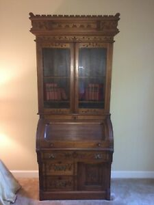 Antique 1800 S Victorian Walnut Secretary Cylinder Roll Top Desk W Bookcase