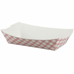Simply Deliver 300 Paper Food Tray Red Plaid 500 count