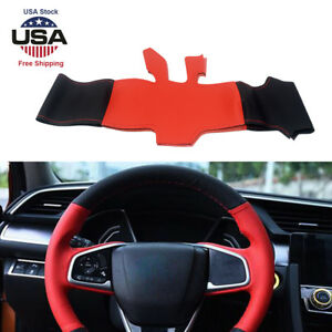 Steering Wheel Cover Wrap Trim Diy Black Red Leather For Honda Civic 2016 2018
