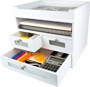White Desk Organizer Wooden Construction Storage Drawers Makeup Organizer Office