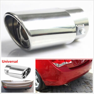 1x Chrome Stainless Steel Car Rear Round Exhaust Pipe Tail Muffler Tip Cover Usa