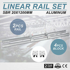 2x Sbr20 1200mm 20mm Fully Supported Linear Rail Shaft With 4 Sbr20uu Block