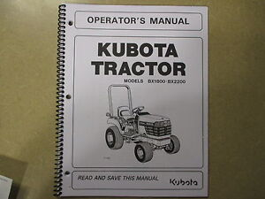 Kubota Bx1800 Bx2200 Bx 1800 2200 Tractor Owners Maintenance Manual