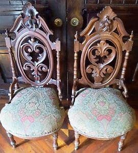 Antique Walnut Victorian Gothic Slipper Prayer Pierced Carved Ornate Chairs Pair
