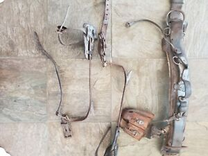 Vintage Pole Tree Climbing Gear inc A Pair Of Spiked Leg Cuffs And Utility Belt