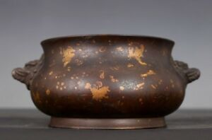 Rare Old Chinese Foodog Heads Incense Burner Bronze Censer Marked Xuande Ab012