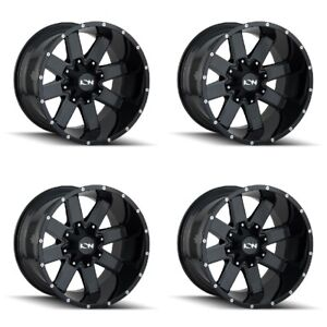 Set 4 17 Ion 141 Black Milled Wheels 17x9 8x6 5 8x170 18mm Ford Chevy Gmc 8 Lug