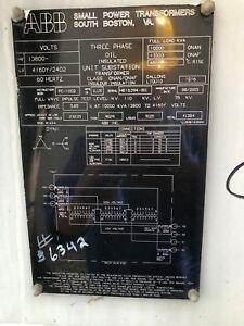10 Mva Substation Power Transformer 13 800 Hv 4160y 2400 Lv Abb