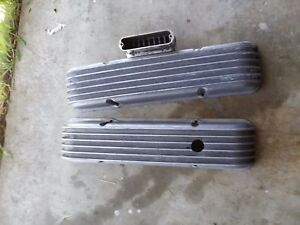 Sbc Chevy Vintage Cal Custom Finned Aluminum Valve Covers 283 327 350 383 400 Ss