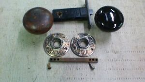 Vintage Door Knobs Plates And Latch Old Architectural Antique Reclaim