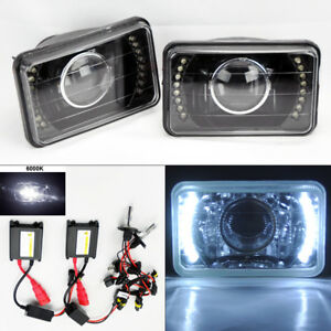 4x6 6k Hid Xenon H4 Projector Black Led Drl Glass Headlight Conversion Chevy