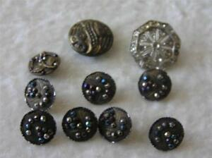 Lot Antique Glass Metal Buttons Lacy